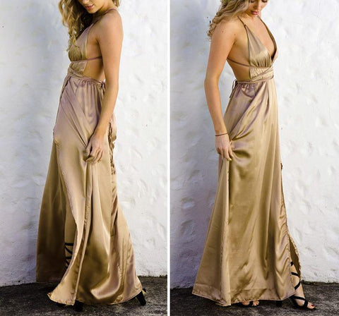 Image of Fashion Sexy V Neck   Backless Evening Maxi Dresses Khaki m