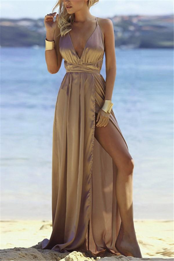 Fashion Sexy V Neck   Backless Evening Maxi Dresses Khaki s
