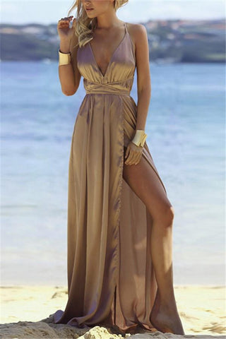 Image of Fashion Sexy V Neck   Backless Evening Maxi Dresses Khaki s