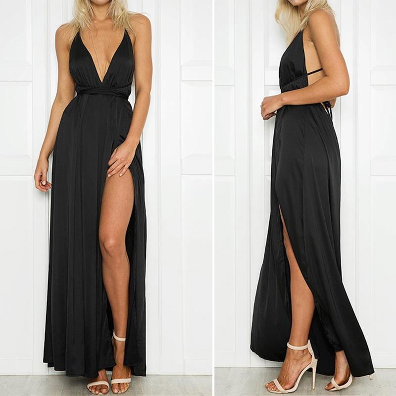 Fashion Sexy V Neck   Backless Evening Maxi Dresses Claret l