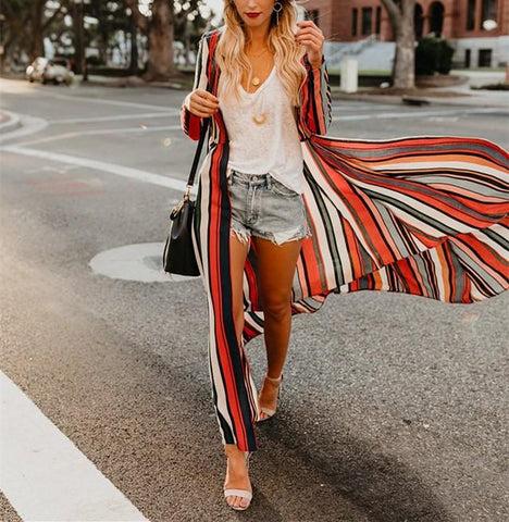 Image of Fashion Colored   Striped Loose Chiffon Cardigan Multi l