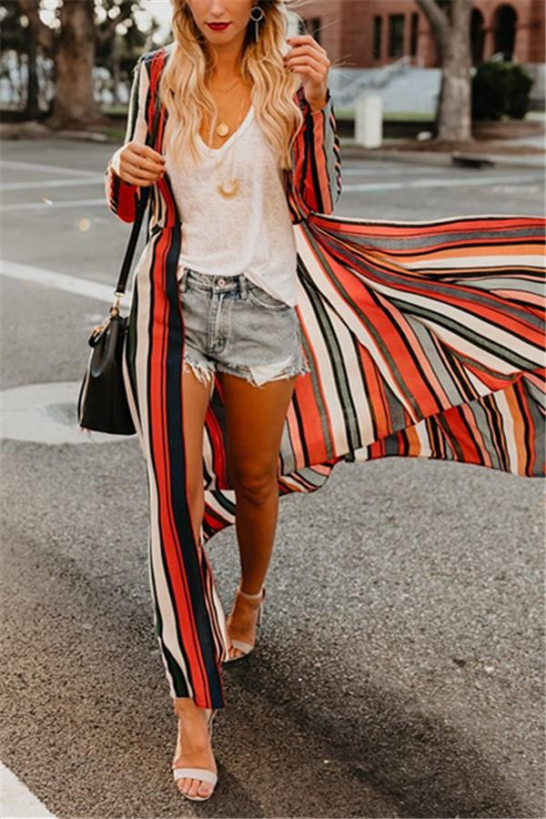 Fashion Colored   Striped Loose Chiffon Cardigan Multi s