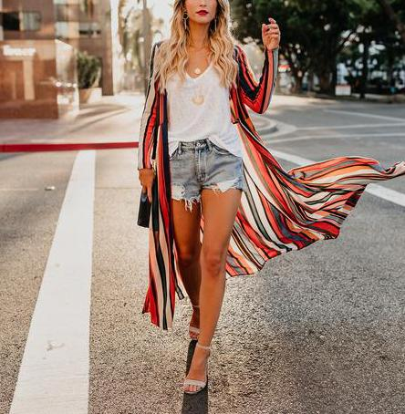 Image of Fashion Colored   Striped Loose Chiffon Cardigan Multi xl