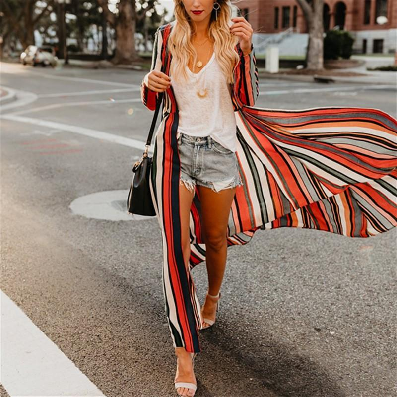Fashion Colored   Striped Loose Chiffon Cardigan Multi m