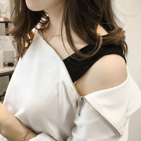 Image of Fashion Sexy Off The   Shoulder Hoodies Blouse White l