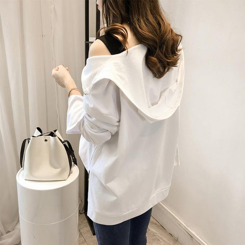 Image of Fashion Sexy Off The   Shoulder Hoodies Blouse White m