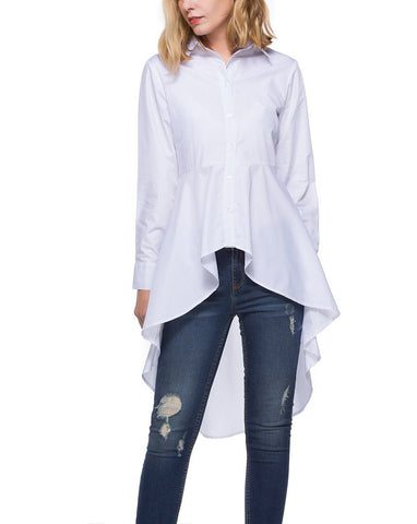 Image of Fashion Loose Pure   Color Long Shirt White xl