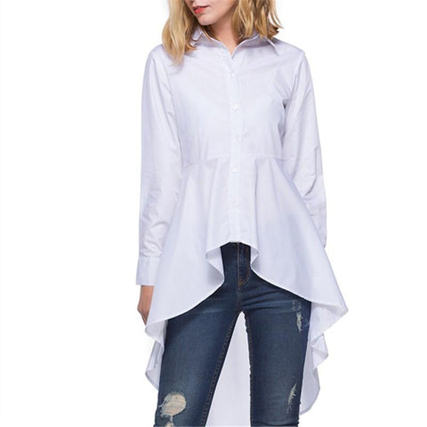 Image of Fashion Loose Pure   Color Long Shirt White m