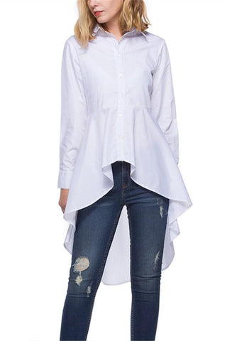 Image of Fashion Loose Pure   Color Long Shirt White l