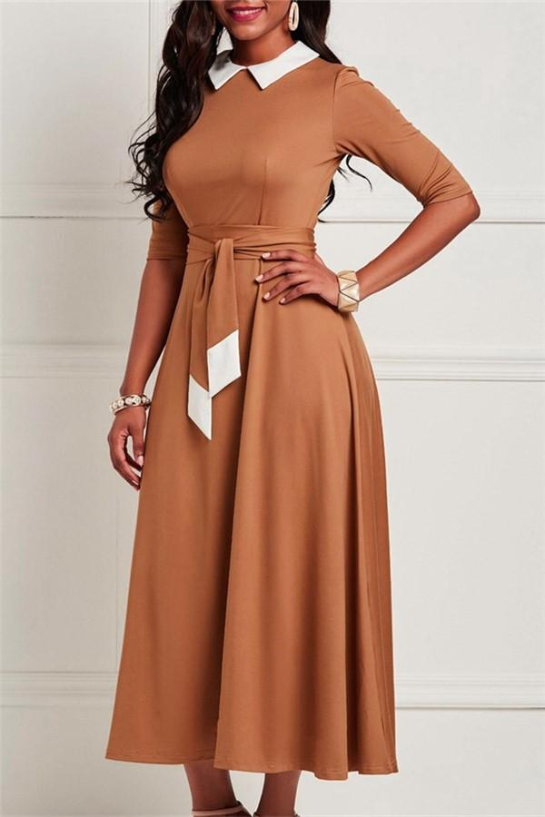 Fashion Sex Show Thin   Chiffon Maxi Dresses Light Brown m