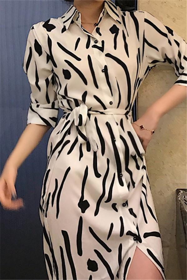 Fashion Long Sleeve   Printing Maxi Dresses Same As Photo one size