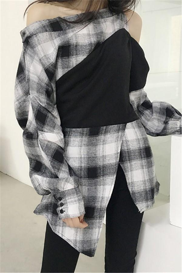 Fashion Long Sleeve   Plaid Spliced Loose Shirt White one size
