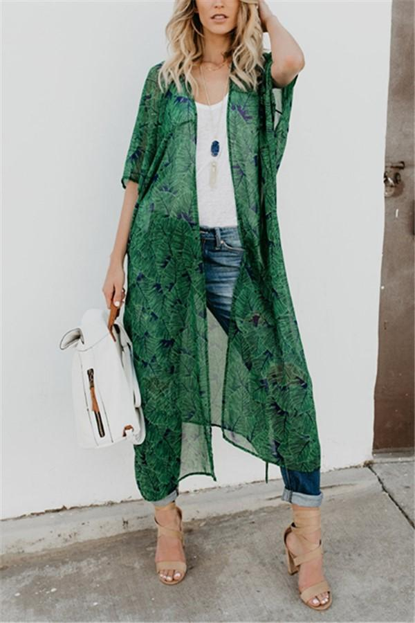 Fashion Show Thin   Chiffon Sunscreen Floral Print Cardigan Coat Green s