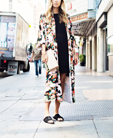 Image of Vacation Floral Print   Chiffon Sunscreen Kimono Cardigan Same As Photo l