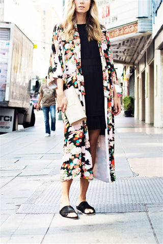 Image of Vacation Floral Print   Chiffon Sunscreen Kimono Cardigan Same As Photo s