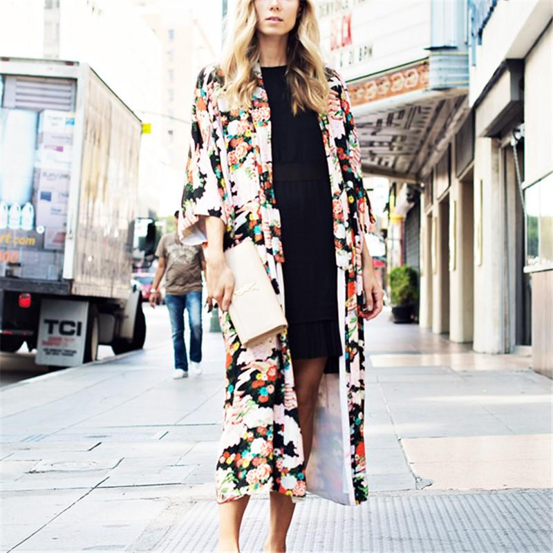 Vacation Floral Print   Chiffon Sunscreen Kimono Cardigan Same As Photo m