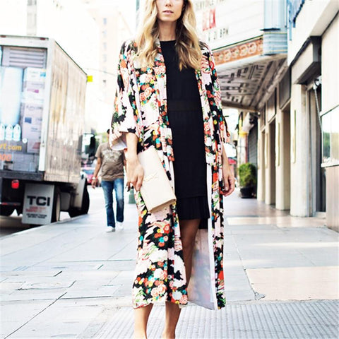 Image of Vacation Floral Print   Chiffon Sunscreen Kimono Cardigan Same As Photo m