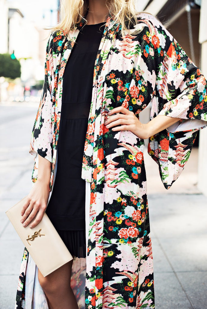 Vacation Floral Print   Chiffon Sunscreen Kimono Cardigan Same As Photo xl