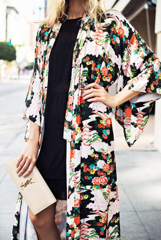 Image of Vacation Floral Print   Chiffon Sunscreen Kimono Cardigan Same As Photo xl