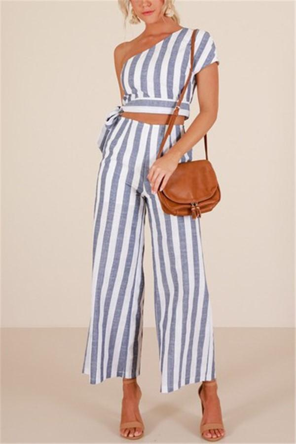 Casual Slant Shoulder   Short Sleeve Stripe T Shirt With Pants Two Piece Set Same As Photo s