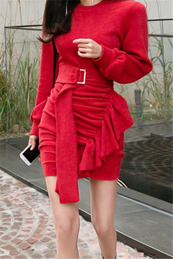 Casual Sexy Frenulum   Knitted Sweater Mini Dresses Red s
