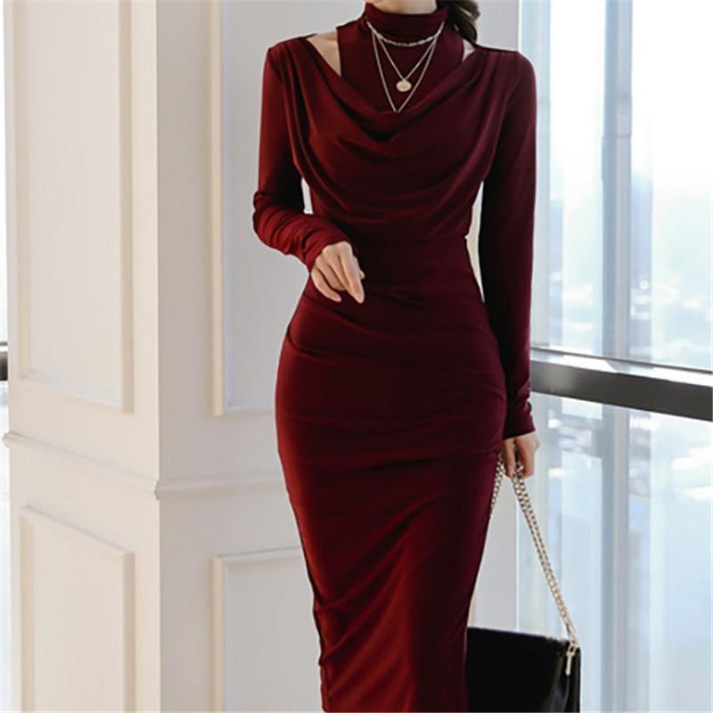 Casual Sexy Show Thin   Evening Party Maxi Dresses Claret m