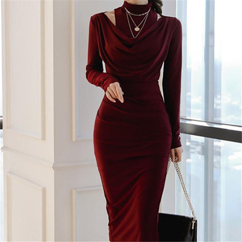 Image of Casual Sexy Show Thin   Evening Party Maxi Dresses Claret m