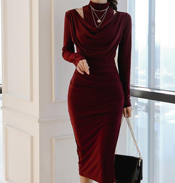 Casual Sexy Show Thin   Evening Party Maxi Dresses Claret l