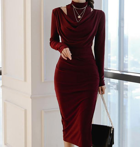 Image of Casual Sexy Show Thin   Evening Party Maxi Dresses Claret l