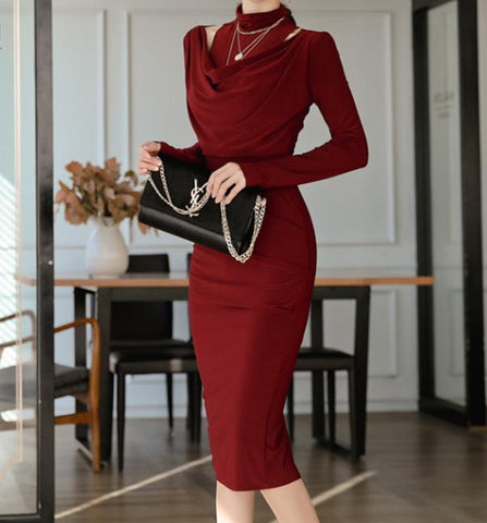 Image of Casual Sexy Show Thin   Evening Party Maxi Dresses Claret xl