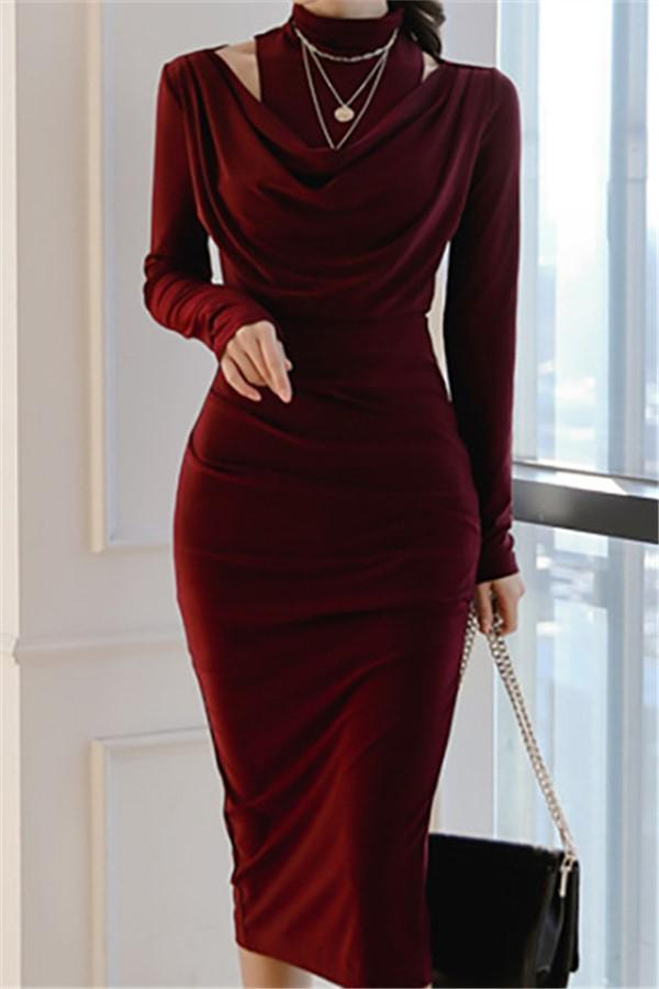Casual Sexy Show Thin   Evening Party Maxi Dresses Claret s