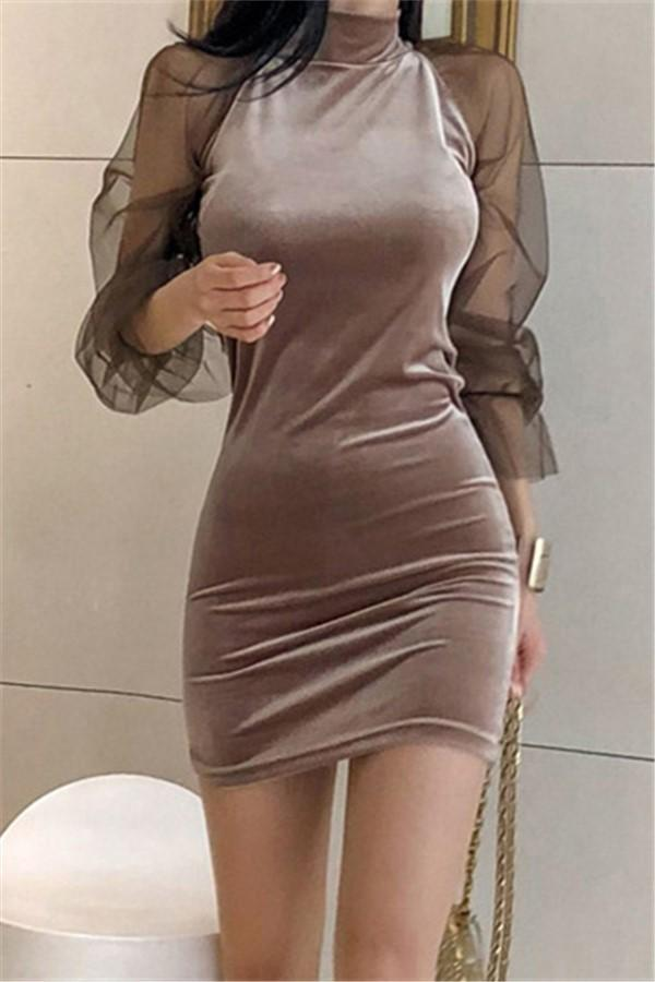 Casual Sexy Show Thin   Lace Splicing Pleuche Mini Dresses Coffee s