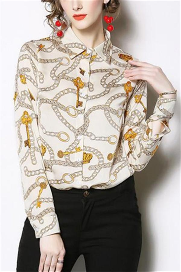 Casual Long Sleeve   Chain Printed Shirts White s