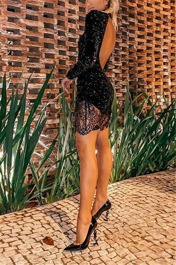 Casual Sexy Backless   Lace Mini Bodycon Dresses Black s