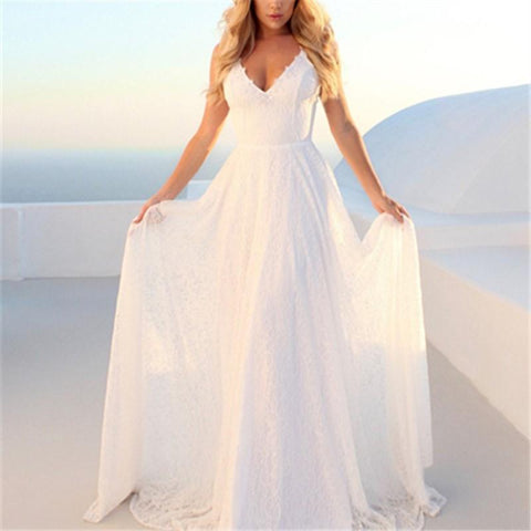 Image of Casual Sexy V Neck   Lace Sling Evening Party Maxi Dresses White m