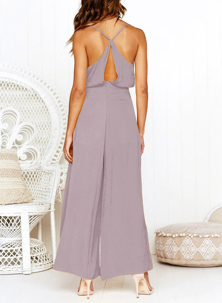 Fashion Sexy V Neck   Sling Pure Color Jumpsuit Pink s