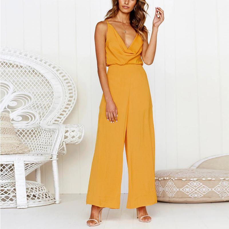 Fashion Sexy V Neck   Sling Pure Color Jumpsuit Yellow m