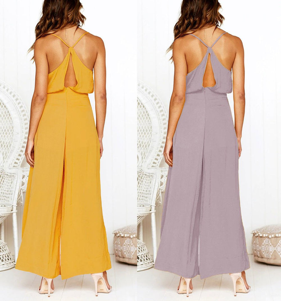 Fashion Sexy V Neck   Sling Pure Color Jumpsuit Pink m