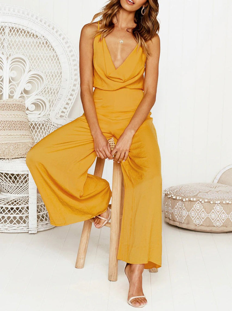 Fashion Sexy V Neck   Sling Pure Color Jumpsuit Yellow l
