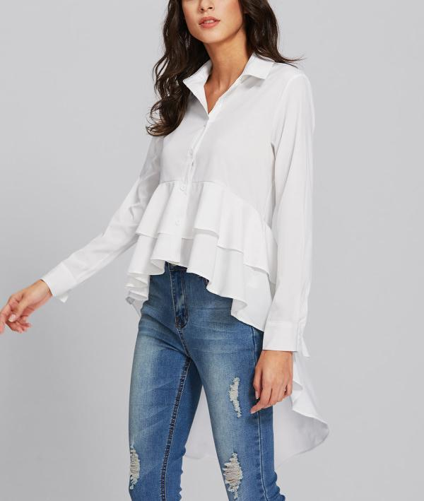 Casual Long Sleeve   Pure Color Loose Falbala Shirt White xl