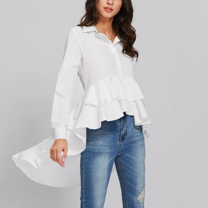 Casual Long Sleeve   Pure Color Loose Falbala Shirt White m