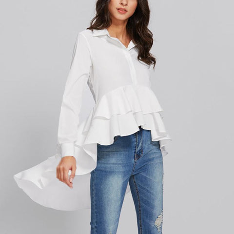 Image of Casual Long Sleeve   Pure Color Loose Falbala Shirt White m