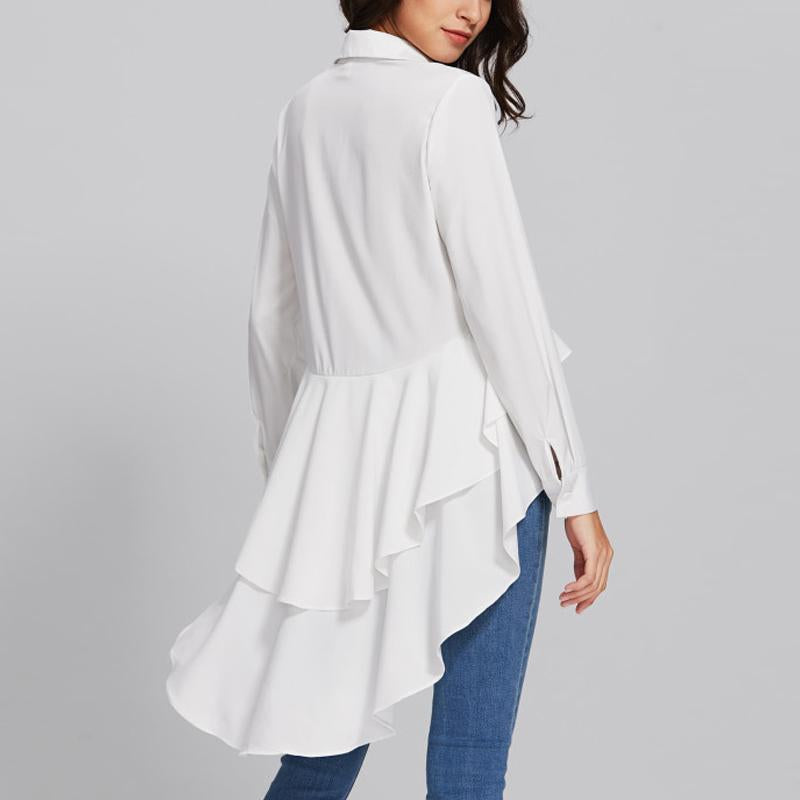 Casual Long Sleeve   Pure Color Loose Falbala Shirt White l