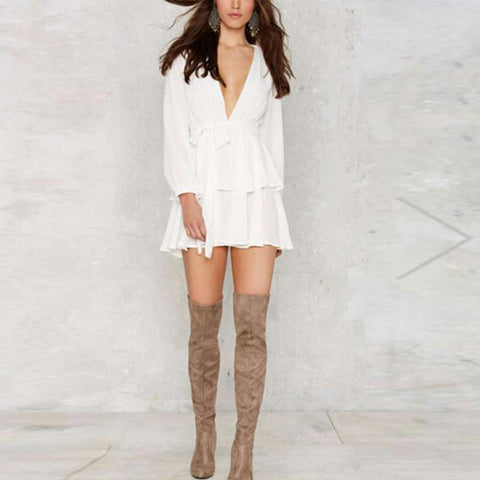 Image of Casual Long Sleeve Sexy V Neck Mini Dresses White m