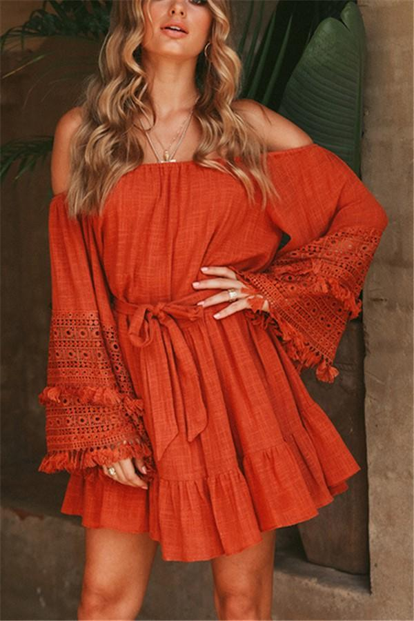 Casual Sexy V Neck Off   The Shoulder Pagoda Sleeve Mini Dresses Same As Photo s