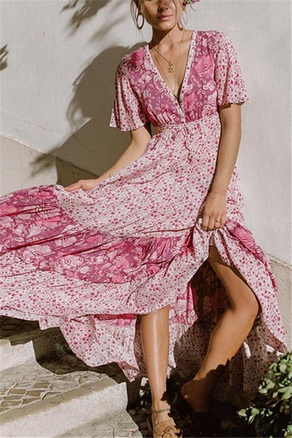 Casual Bohemian Style   Sexy V Neck Floral Print Maxi Dresses Same As Photo s