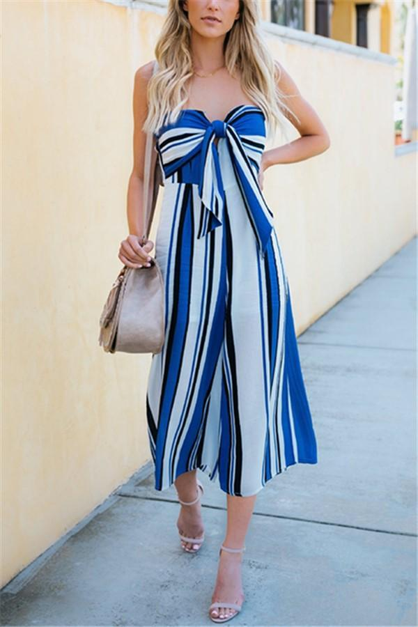 Casual Sexy Butterfly   Knot Stripe Printing Wide Leg Jumpsuit Blue s