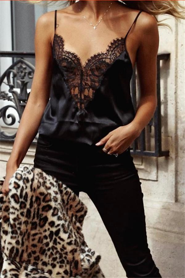 Casual Sexy Lace V   Neck Sling Vest Blouse Black s