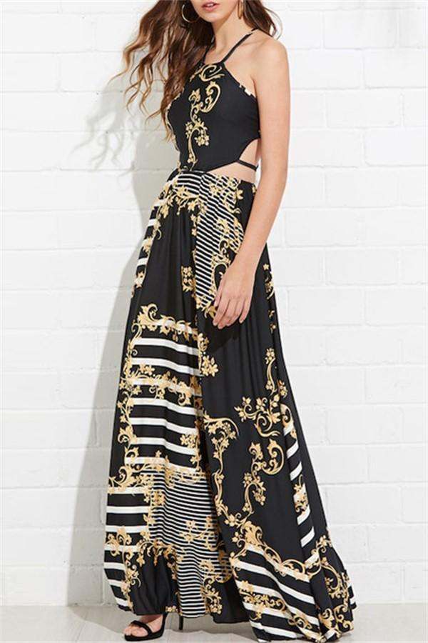Casual Sexy Sling   Backless Floral Print Maxi Dresses Black s