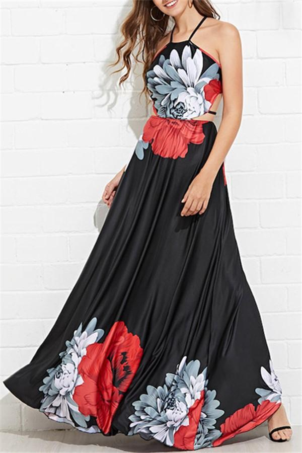 Casual Sexy Sling   Backless Floral Print Holiday Beach Maxi Dresses Black s